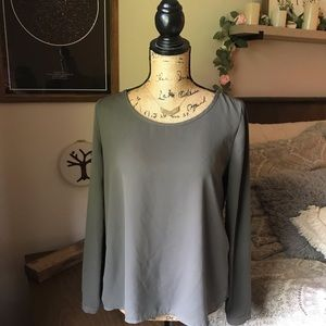 Tops - Olive Green Blouse With Back Detail Size Small